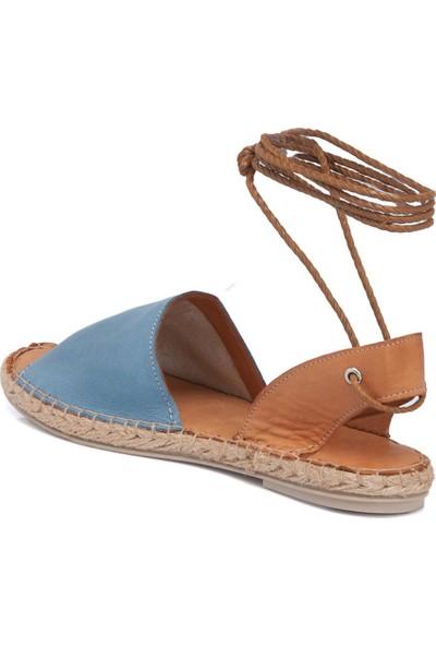 Tergan Mavi-Taba Deri Kadın Sandalet 64430O6O