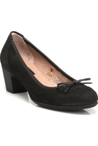 Tergan Siyah Deri Kadın Ayakkabı 64200A64