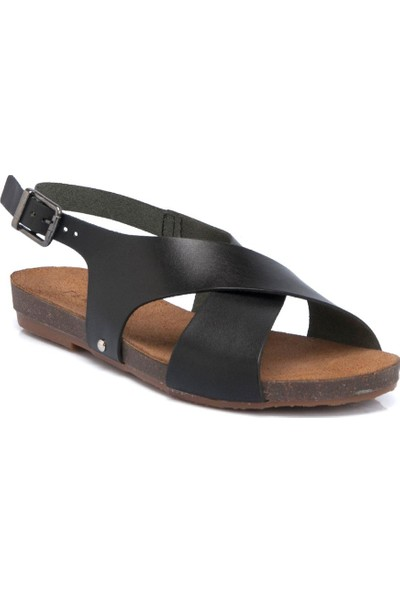 Tergan Siyah Deri Kadın Sandalet 64353A57