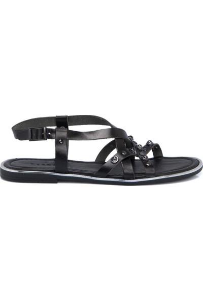 Tergan Siyah Deri Kadın Sandalet 64534A57