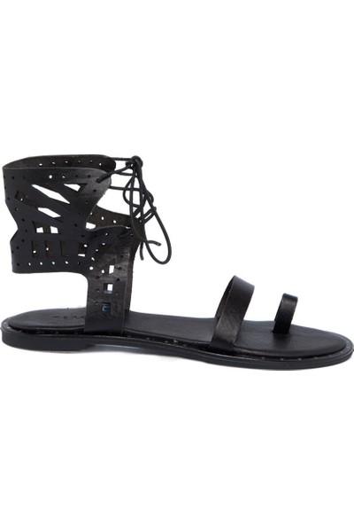 Tergan Siyah Deri Kadın Sandalet 64537A57