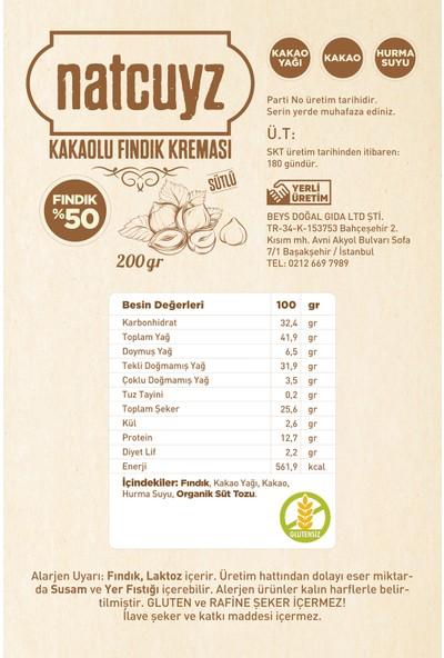 Natcuyz Kakaolu Sütlü Fındık Kreması 200 gr