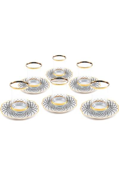 """Lotus Bone Chına Porselen 5"""" Çay Tabağı ve Çay Bardağı Set 6'lı- 12 Parça"""