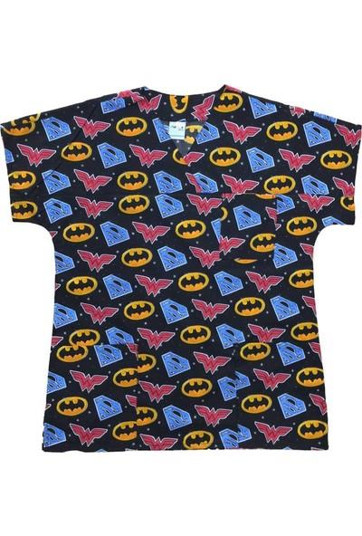 Palmiye Üniforma Süperman Batman Desenli Hemşire Veteriner Masör Forması