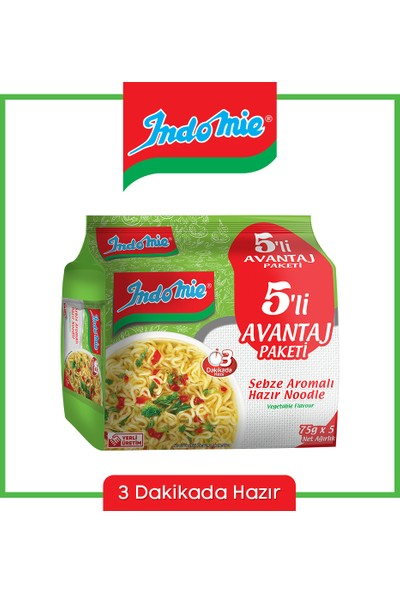 İndomie 5'li Sebze Aromalı Hazır Noodle