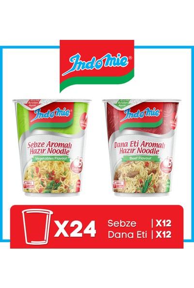 İndomie 24'lü Noodle Bardak Karma Koli(Dana Etli-Sebze)