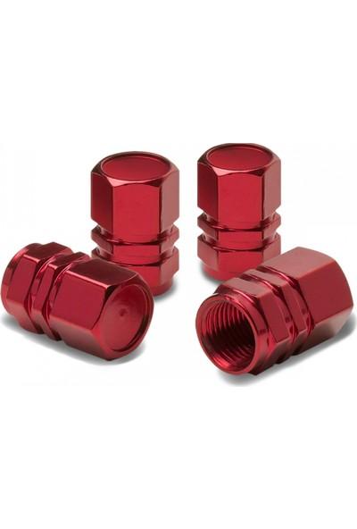 Cekasan Alüminyum Hexagon Kırmızı Sibop Kapağı 4'lü Set