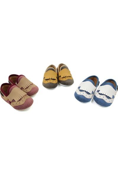 Love Baby Bordo Süet Erkek Bebek Ilkadım Ayakkabısı 18 ve 19 Numara