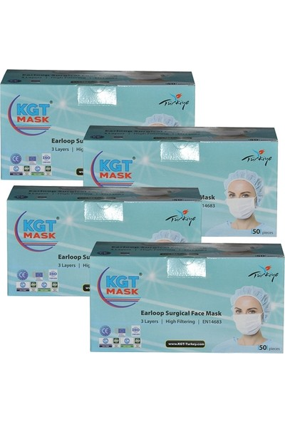 Kgt Mask 3 Katlı Telli Cerrahi Maske 50'li x 4 Adet 200 Adet