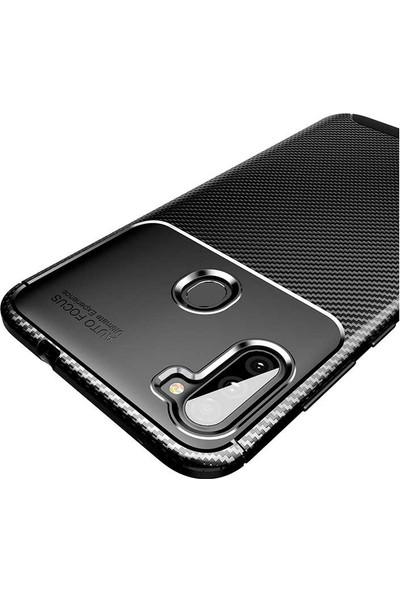 Tekno Grup Samsung Galaxy M11 Kılıf Karbon Desenli Lux Negro Silikon + Cam Ekran Koruyucu Siyah