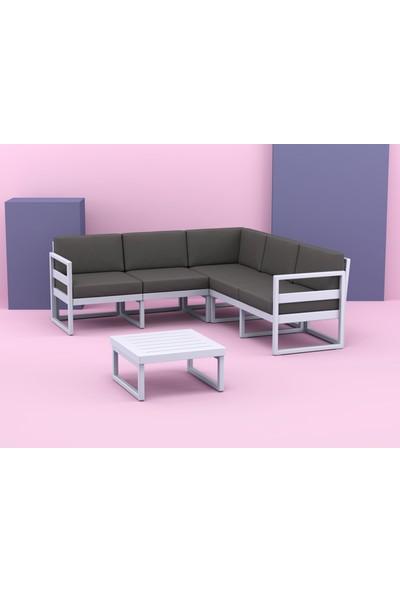 Siesta Exclusive Mykonos Lounge Köşe Set Gümüş Gri