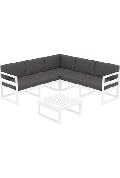 Siesta Exclusive Mykonos Lounge Köşe Set Beyaz