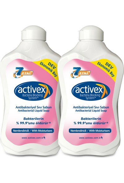 Activex Antibakteriyel Sıvı Sabun Nemlendiricili 2 Adet 1,5 Lt