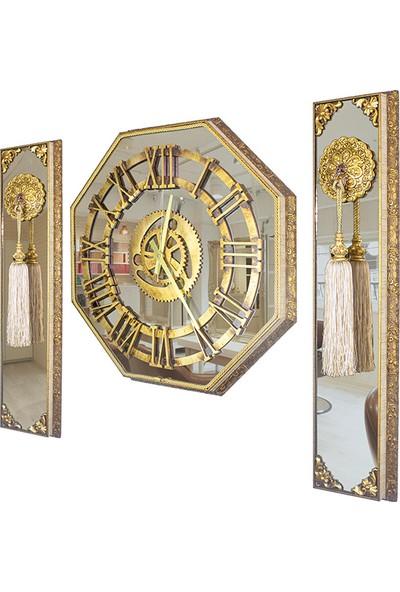 Aynalı ve Varaklı Lüx 3'lü Duvar Saati Saçaklı