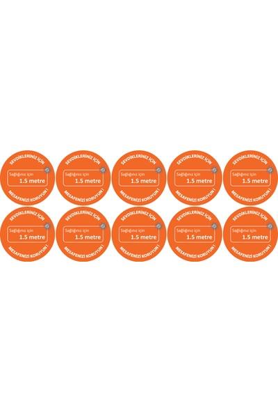 Brn Sosyal Mesafe Uyarı Yer Sticker Turuncu 10'lu