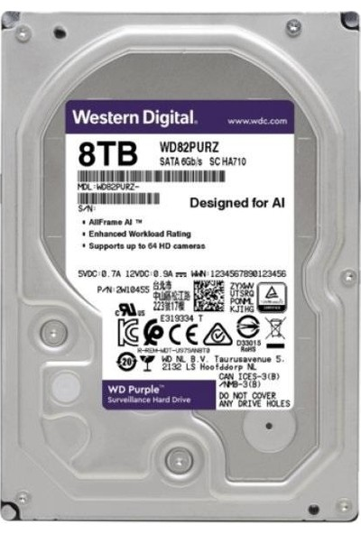 "WD Purple 3.5"" 8TB 7200RPM SATA Hard Disk WD82PURZ"