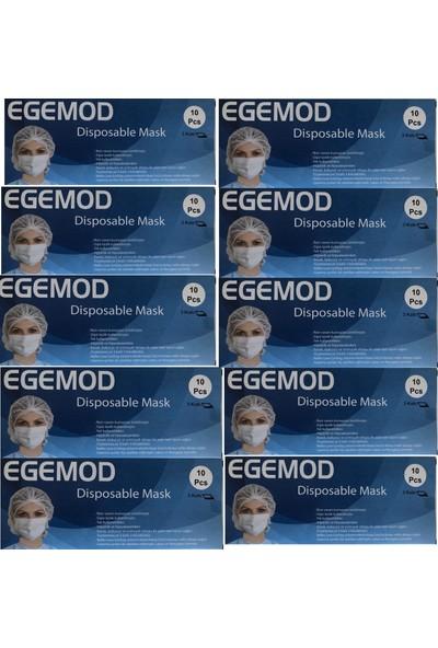Egemod Cerrahi Telli 3 Katlı Nonwoven Filtreli Maske 10'lu 10 Adet