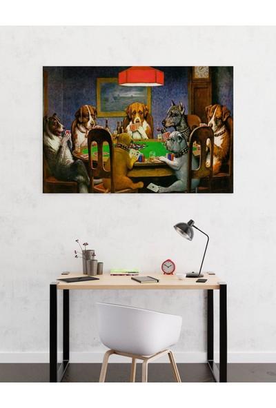 Dekoliya Poker Oynayan Köpekler Tablosu 30 x 45 cm