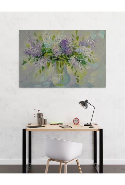 Dekoliya Cam Fanus Renkli Yağlı Boya Çiçek Tablosu 30 x 45 cm