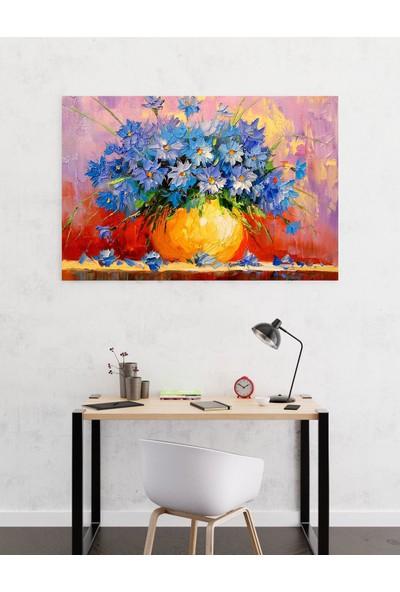 Dekoliya Yağlı Boya Mavi Çiçek Tablosu 30 x 45 cm