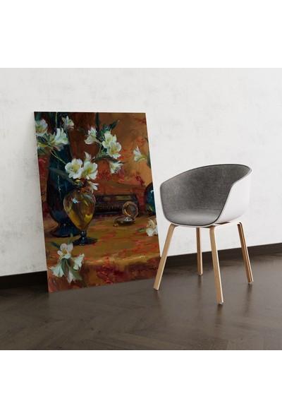 Dekoliya Vazoda Çiçek Temalı Yağlı Boya Tablosu 30 x 45 cm