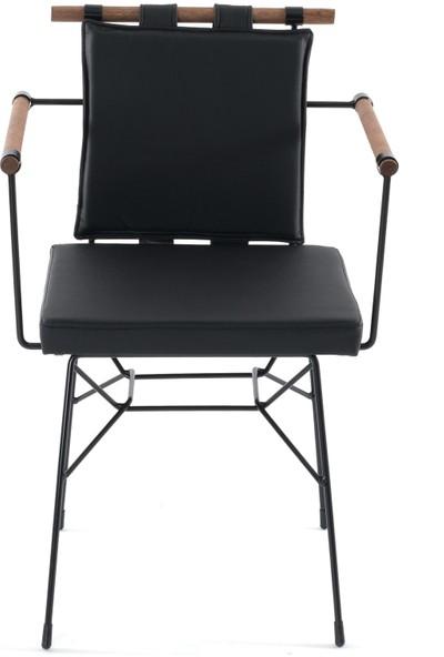 Mars Mobilya Penyez Siyah Tel Sandalye