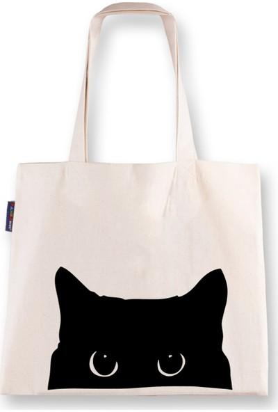 Kanka Kids Kedi Baskılı Ham Bez Çanta 3'lü Set