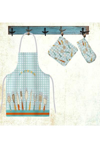 Belnido Home Çatal Baskılı Pamuklu Su Geçirmez Mutfak Önlüğü Seti MFS00005