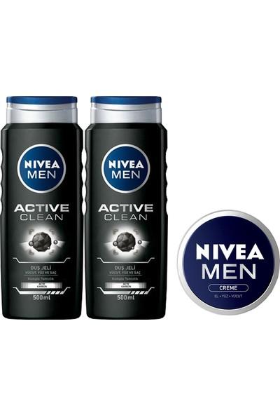 Nivea Active Clean Erkek Duş Jeli 500 ml x 2 Adet + Men Krem 30 ml