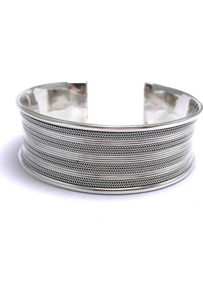 Midyat Nurtaş Gümüş Sık Kuyruk Işlemeli Ayarlanabilir 925 Ayar Unisex Gümüş Bilezik