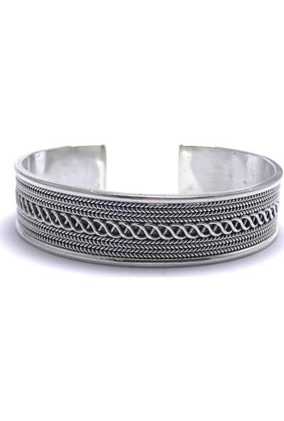 Midyat Nurtaş Gümüş Zincir Örme Işlemeli Ayarlanabilir 925 Ayar Unisex Gümüş Bilezik