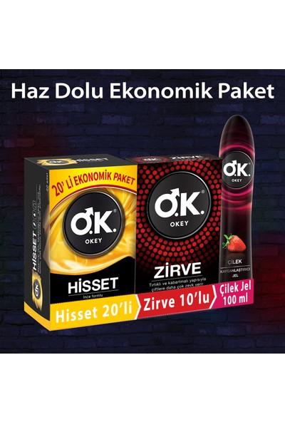 Okey Prezervatif Hisset 20'li + Zirve 10'lu + Çilek Kayganlaştırıcı Jel 100 ml