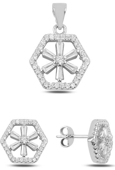 Silverella Gümüş 925 Ayar Zirkon Taşlı Küpe & Kolye Ucu Set