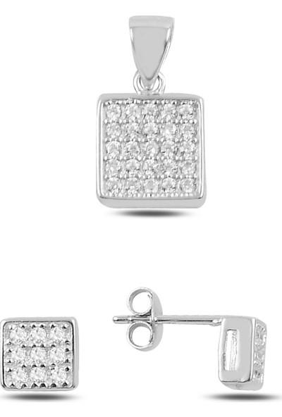 Silverella Gümüş 925 Ayar Zirkon Taşlı Kare Küpe & Kolye Ucu Set
