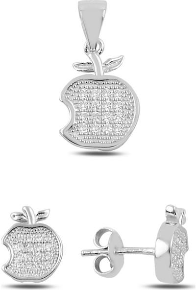 Silverella Gümüş 925 Ayar Zirkon Taşlı Elma Küpe & Kolye Ucu Set