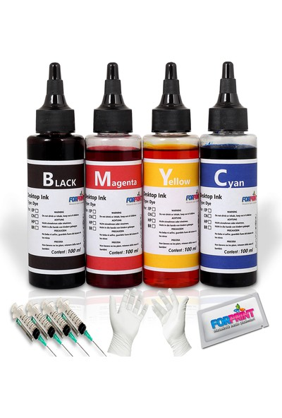 Epson L Serisi Yazıcı Uyumlu 4x100ml Mürekkep Renkli