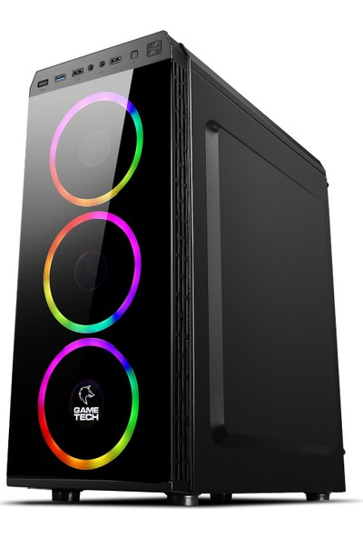 Gametech Zeus Kumandalı RGB 4 x 120 mm Fan Oyuncu Bilgisayar Kasası