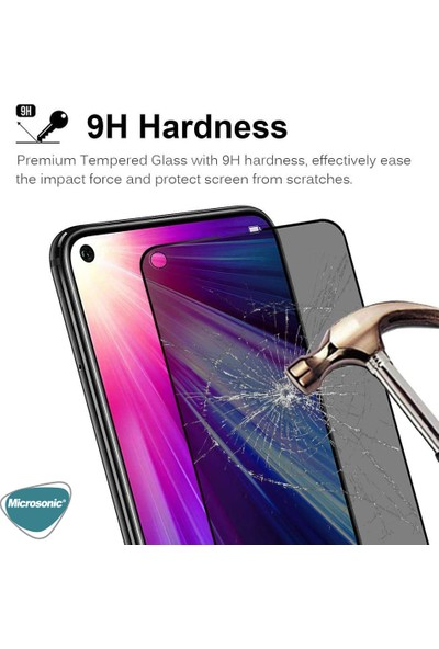 Microsonic Huawei Honor 20 Privacy 5D Gizlilik Filtreli Cam Ekran Koruyucu Siyah
