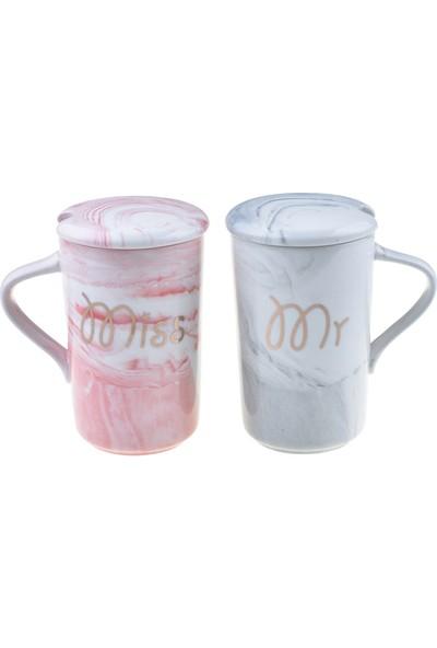 Bambum Aika - Mr & Mrs 2'li Porselen Kupa Kapaklı