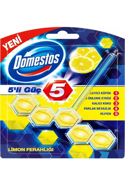 Domestos 5'li Güç Tuvalet Blok (Top) 55GR Limon Fer. - 9'lu Koli