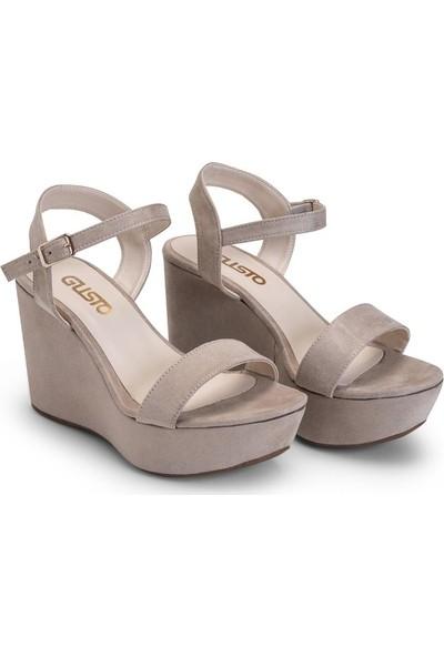 Gusto Dolgu Topuk Süet Bantlı Ayakkabı - Bej