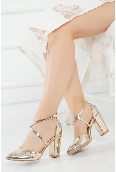Çnr&Dvs Gold Ayna Kadın Abiye Ayakkabı 1310CNR