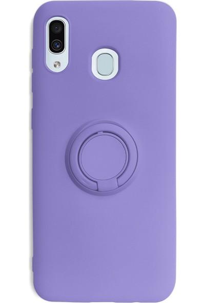 Case Markt Samsung Galaxy A20S Yüzüklü Standlı Silikon Telefon Kılıfı