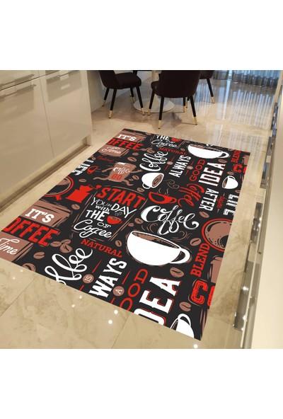 Evpanya Kırmızı Coffea Desen Mutfak Halısı