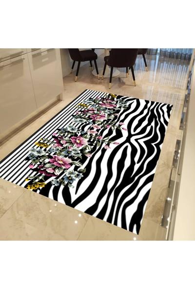 Evpanya Çiçekli Zebra Desen Mutfak Halısı