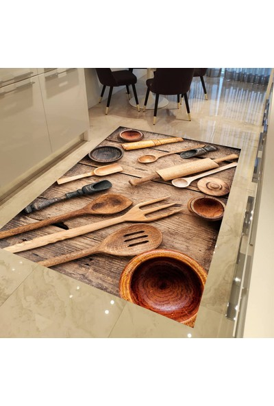 Evpanya Ahşap Kaşık Desen Mutfak Halısı