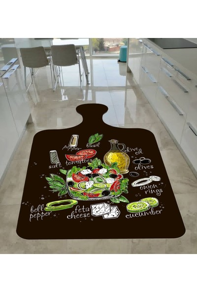Kesme Tahtası Kaymaz Tabanlı Mutfak Halısı