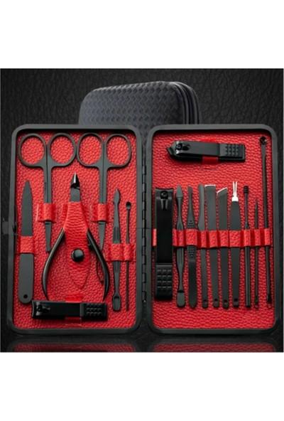 TİNEKE Çantalı Paslanmaz Çelik Manikür + Pedikür Set 18 Parça Siyah 177C-G