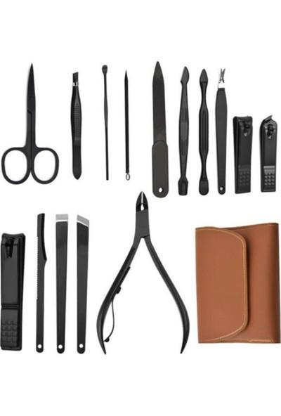 TİNEKE Çantalı Paslanmaz Çelik Manikür ve Pedikür Set 16 Parça 177B-D