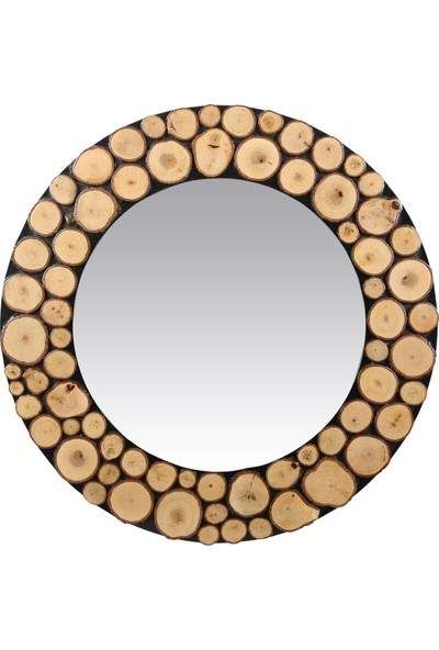 Dfn Wood Doğal Ahşap Yuvarlak Dekoratif Duvar Salon Banyo Aynası